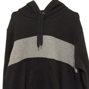 Amazon Essentials Black Hoodie w/Bold Grey Stripe